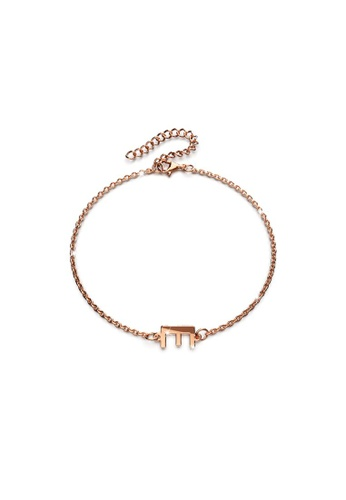 Bullion Gold gold BULLION GOLD Bold Alphabet Letter Initial Charm Bracelet in Rose Gold Tone - E D154CACCDD8675GS_1