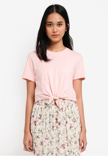 TOPSHOP pink Petites Knot Front T-Shirt 0BECCAA2443D94GS_1