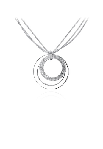 Glamorousky silver Simple Round Pendant with Necklace 9EF50AC38C5E79GS_1
