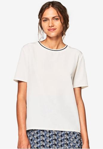 ESPRIT white Contrast Trim Short Sleeve T-Shirt 251FCAA158A0EDGS_1