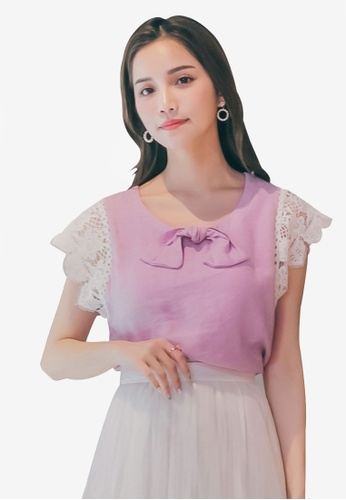 Yoco purple Bow and Lace Sleeves Top 12454AA5FA044BGS_1