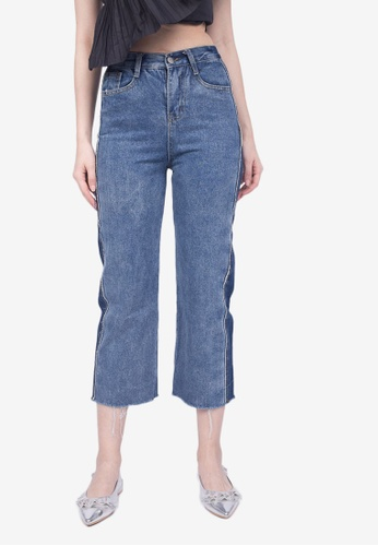 Caoros blue Two Toned Frayed Jeans 063A9AABFFF06FGS_1