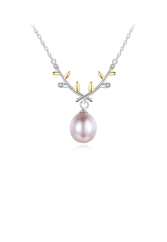 Glamorousky white 925 Sterling Silver Fashion Temperament Golden Leaf Purple Freshwater Pearl Necklace 8C45EAC9ABCAFCGS_1