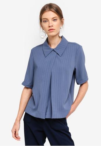 ESPRIT blue Woven Short Sleeve Blouse 71884AA0F27F52GS_1