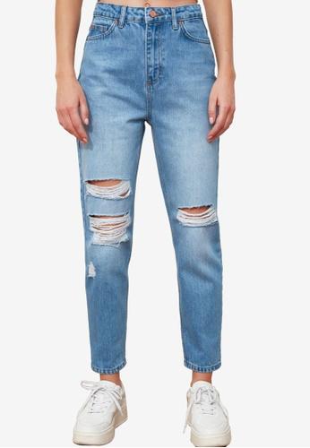 Trendyol blue High Waist Slim Fit Ripped Jeans EF73CAA35BB80CGS_1