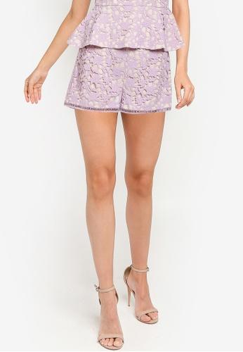 ZALORA OCCASION purple Crochet Lace Shorts C5DA5AAE1560A6GS_1