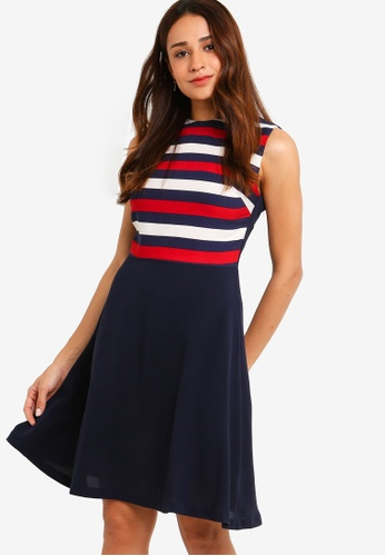 ZALORA multi and navy Contrast Fit And Flare Dress 52E6FAAA67ADDCGS_1