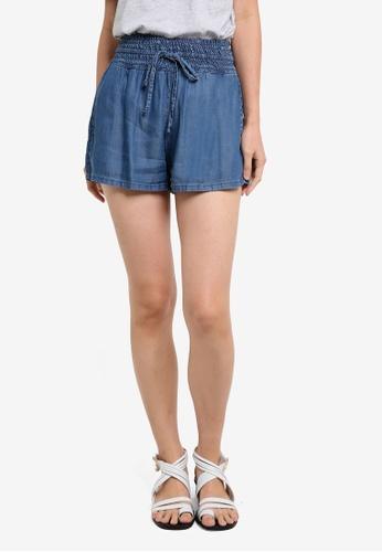 Mango blue Ruched Denim Shorts MA193AA0RGUFMY_1
