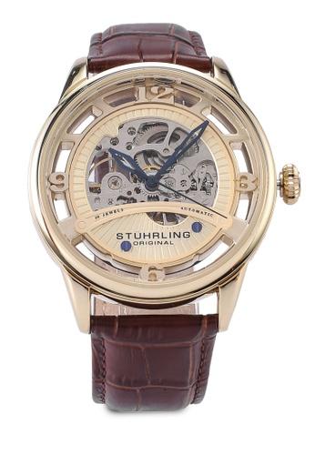 Stuhrling Original brown Legacy 3974 Automatic Skeleton Watch 1161DAC89558F6GS_1