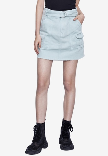 URBAN REVIVO green Belted Mini Skirt 8D1A6AAF2DB501GS_1