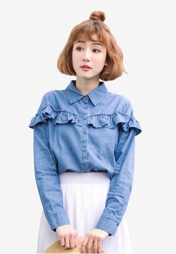 Tokichoi blue Buttoned Up Ruffled Shirt 3E647AAEEAEA12GS_1