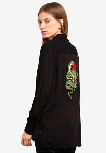Brave Soul black Longer Length Shirt With Dragon Patch On Back AA120AAAC023ECGS_1