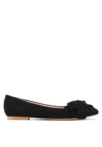 Velvet black Bow Ballerina Flats 5AE77SHEAB76C2GS_1