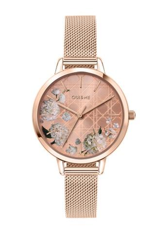 Oui & Me gold Fleurette Quartz Watch Rose Gold Metal Band Strap ME010105 3E473ACFC5EA26GS_1