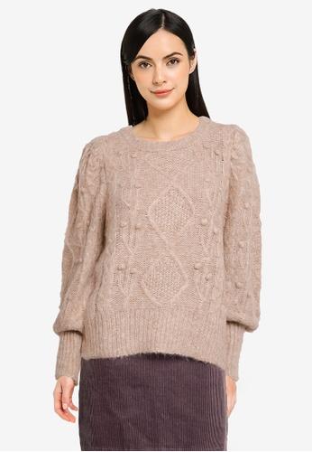 Heather beige Knit Sweater BD440AAD670195GS_1
