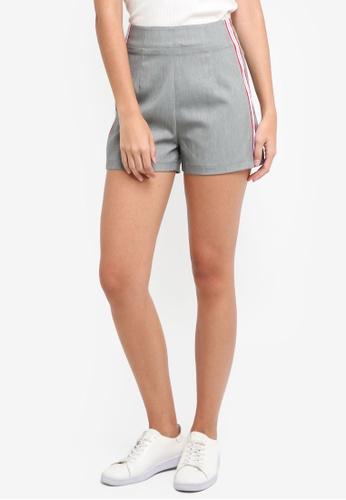 ZALORA grey High Waisted Shorts With Side Stripe 10E4AAADFA5366GS_1