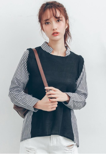 Shopsfashion white and navy Checked Color Block Blouse C60C3AA3EC645EGS_1