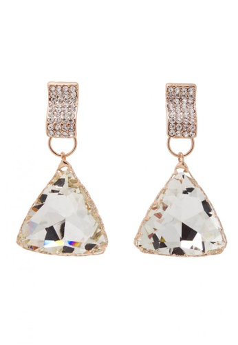 Jaysa Collection white Rose Gold Glamour Triangular Earrings With Clear Rhinestones JA875AC0GH6FSG_1