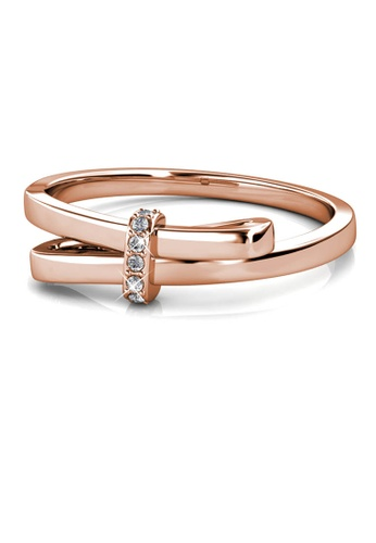 Her Jewellery gold Luminous Bow Ring (Rose Gold) - Made with premium grade crystals from Austria 787FAAC1B3F82DGS_1