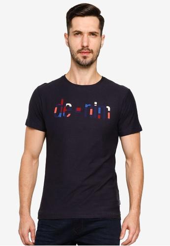 BLEND navy Text Print Crew Neck T-Shirt BE8E8AAA03F1E9GS_1