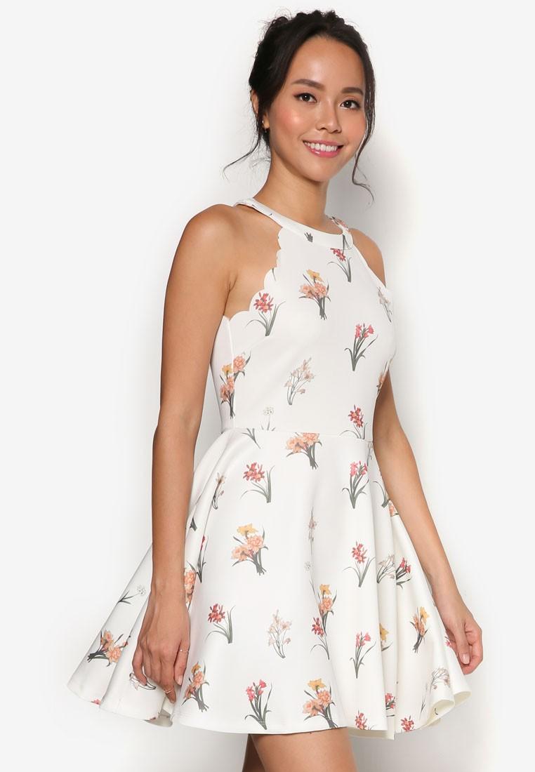 Cut-in Scallop Fit & Flare Dress