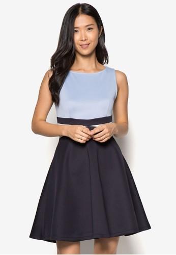 撞色拼接無zalora鞋子評價袖連身裙, 服飾, 正式洋裝