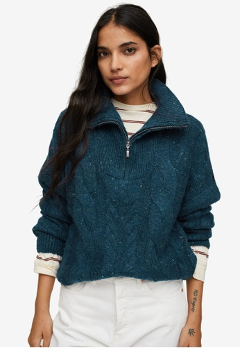 Mango 藍色 Zip Knit Sweater 27D5CAADCB1935GS_1