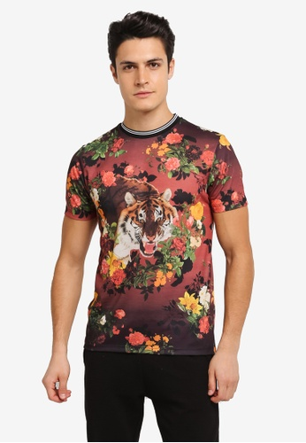 Topman multi Tiger Floral T-Shirt TO413AA0SLY3MY_1