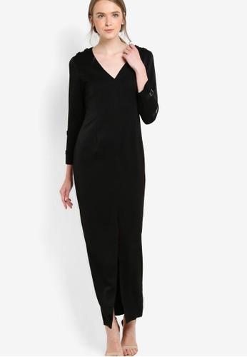 V領長袖esprit 衣服前開衩連身長裙, 服飾, 洋裝