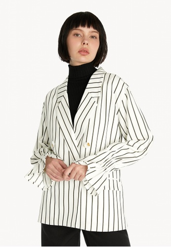 Pomelo white Striped Double Button Blazer - White EACA5AA4A6FBCDGS_1