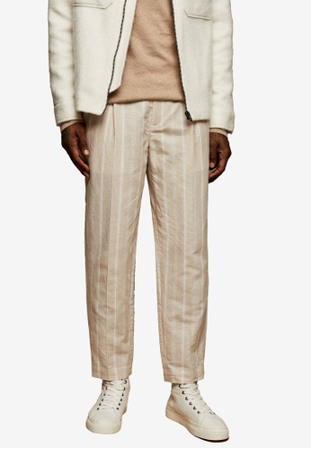 Topman beige Neutral And White Stripe Tapered Trousers 45646AAE502070GS_1