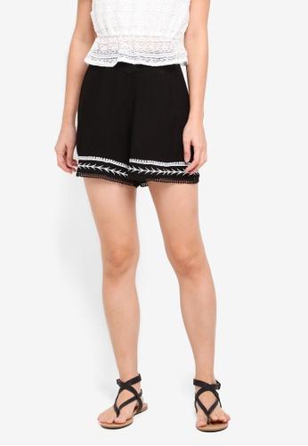 Miss Selfridge black Embellished Hem Shorts 66613AAB97CC1FGS_1