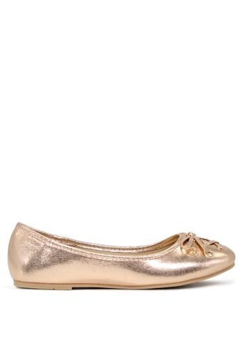 London Rag gold Rose Gold Ballerina Flats with Bow SH1701 AB2D6SHF61E6AFGS_1