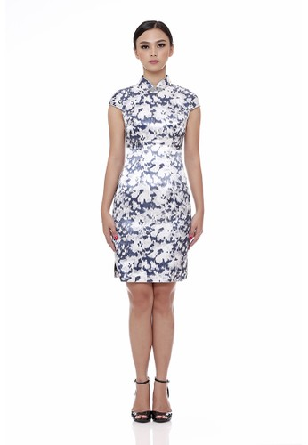 Mandarin Peony Cheongsam white and blue and multi and silver and grey Mandarin Peony RAINDROPS Printed Cheongsam Dress MA048AA64TJFID_1