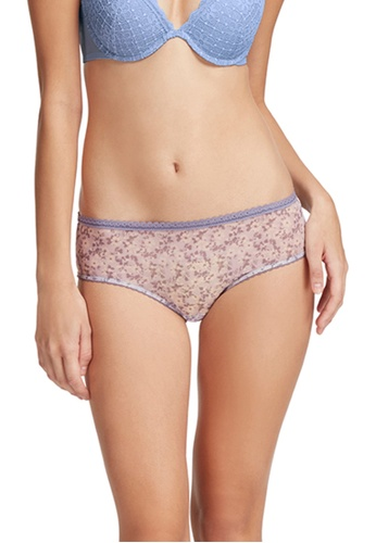 6IXTY8IGHT purple All-over Floral Print Mesh Low-rise Hipster Panty PT09832 ACC91US7E4B55EGS_1