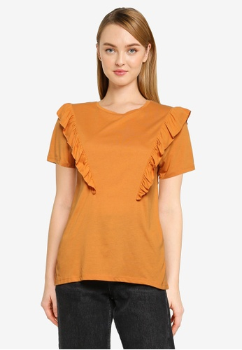 JACQUELINE DE YONG orange Karen Frosty Frill Top 45F32AADE492FEGS_1