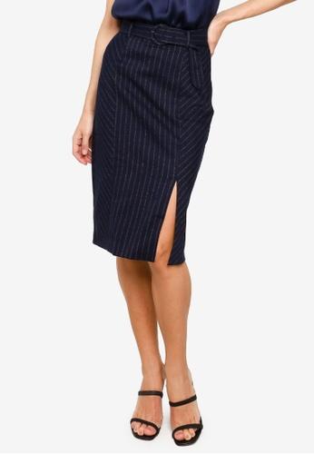 FORCAST navy Tina Belted Pinstripe Skirt D53BDAAEEF5CBAGS_1