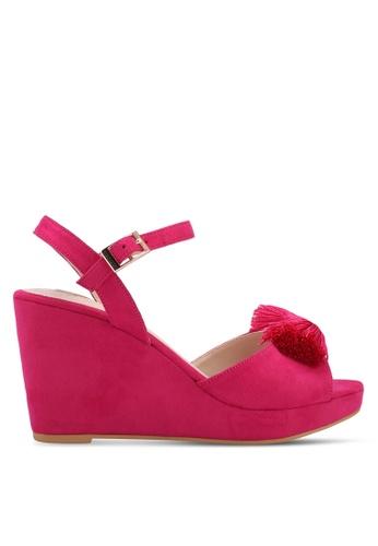 Velvet pink Front Tassel Ankle Strapped Wedges D40B6SH55B04BBGS_1
