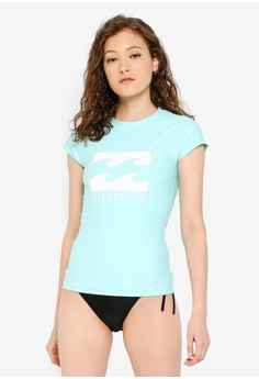6c704343db1a Billabong green Mighty Fine Short Sleeve Rashguard 3C782USDAD9A5EGS_1