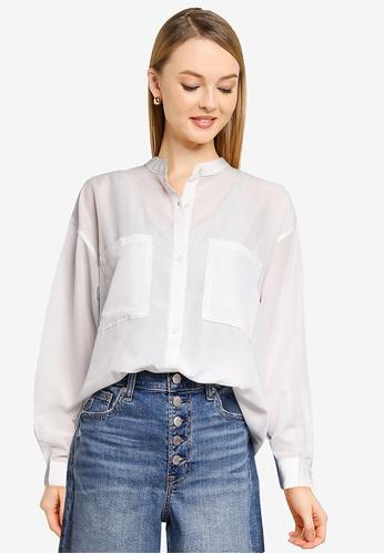 LOWRYS FARM white Sheer Oversized Shirt 43545AAE48EAEFGS_1