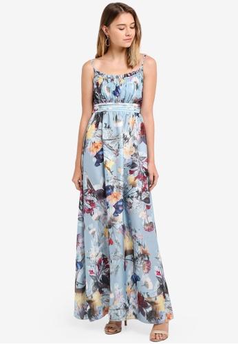 Little Mistress blue Satin Maxi Dress 46267AA24B995DGS_1