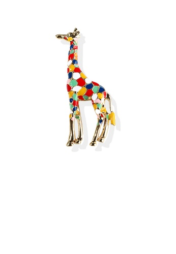 Glamorousky silver Simple Personality Plated Gold Color Giraffe Brooch 91BB5AC4688CC3GS_1
