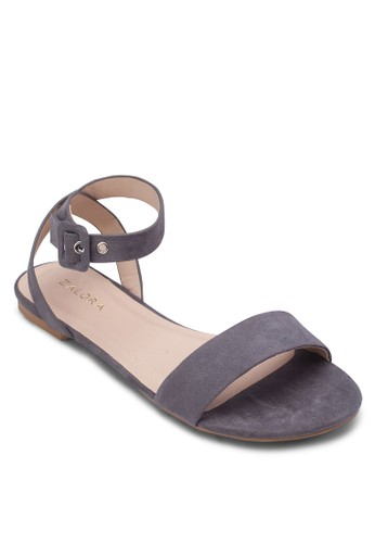 寬帶繞踝平底涼鞋,zalora taiwan 時尚購物網 女鞋, 涼鞋
