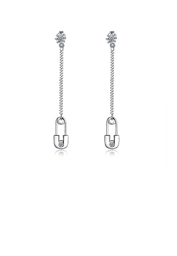 Glamorousky white 925 Sterling Silver Creative Paper Clip Tassel Earrings with Austrian Element Crystal C8F88AC396C3E7GS_1