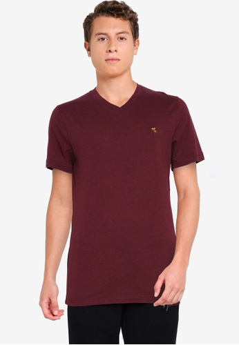 Abercrombie & Fitch red Icon Vee T-Shirt A7DE0AAAFC8BB2GS_1