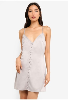 c438b5ff3804c MISSGUIDED silver Satin Button Detail Strappy Mini Dress 0CCD7AAEC7D165GS_1