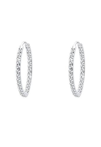 Elli Germany white 925 Sterling Silver Glamor Hoop Swarovski® Crystals Earrings EL474AC69GSOMY_1