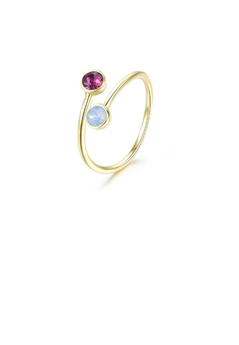 Glamorousky multi 925 Sterling Silver Plated Gold Simple Colored Austrian Element Crystal Adjustable Ring 5F898AC7DBA752GS_1