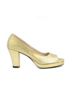 NADIA gold 3-inch chunky heels peep-toe platform pumps