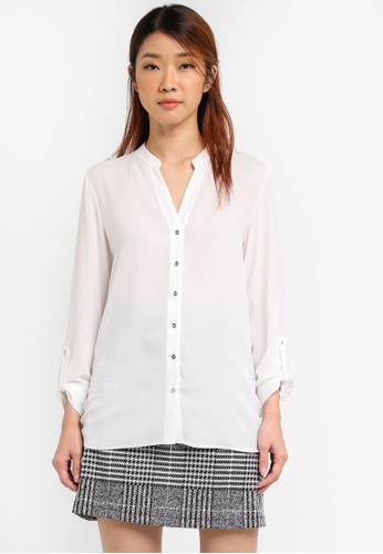 Dorothy Perkins white Collarless Shirt DO816AA0SRCZMY_1